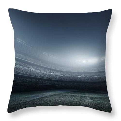 Soccer Uniform Throw Pillow featuring the photograph Soccer Player With Ball In Stadium by Dmytro Aksonov
