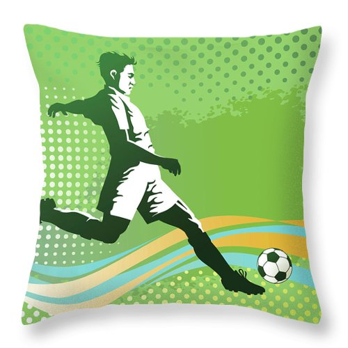 Event Throw Pillow featuring the digital art Soccer Player With Ball On Green by Vasjakoman