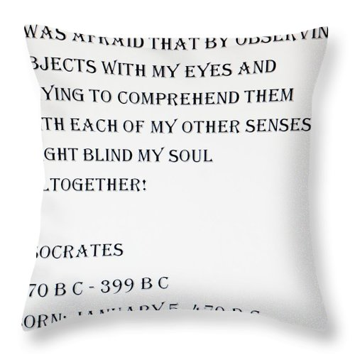 Quote Throw Pillow featuring the photograph Socrates Quote by Rob Hans