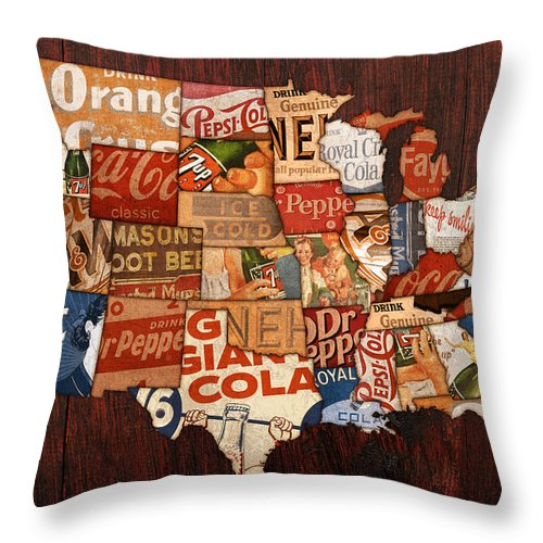 Soda Pop America Wrapper Vintage Pepsi Coke Coca Cola 7up Mountain Dew Root Beer Orange Crush Nehi Dr Pepper Drink Beverage Thirsty Usa Map Country Rc Bottle Can Box History Faygo Drink Ice Cold Carbonated Throw Pillow featuring the mixed media Soda Pop America by Design Turnpike