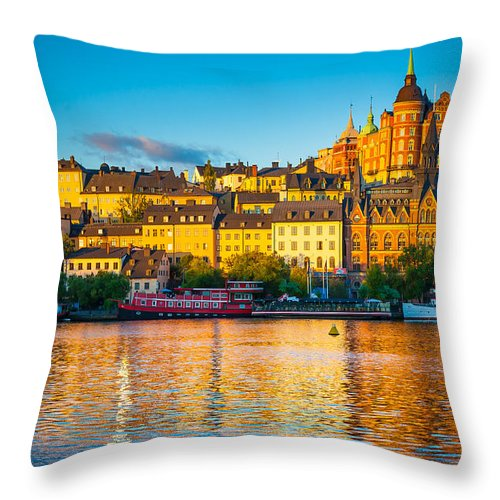 Europe Throw Pillow featuring the photograph Sodermalm Skyline by Inge Johnsson