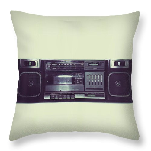 Cool Attitude Throw Pillow featuring the photograph Soft Black Boombox Centered With White by Sjharmon