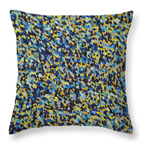 Abstract Throw Pillow featuring the painting Soft Blue With Yellow by Dean Triolo