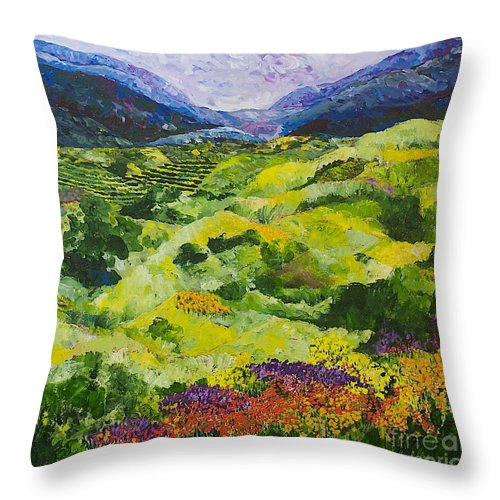Landscape Throw Pillow featuring the painting Soft Grass by Allan P Friedlander