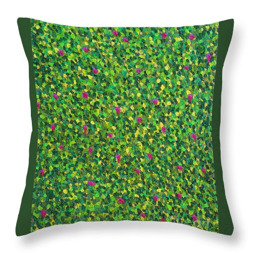 Abstract Throw Pillow featuring the painting Soft Green With Pink by Dean Triolo