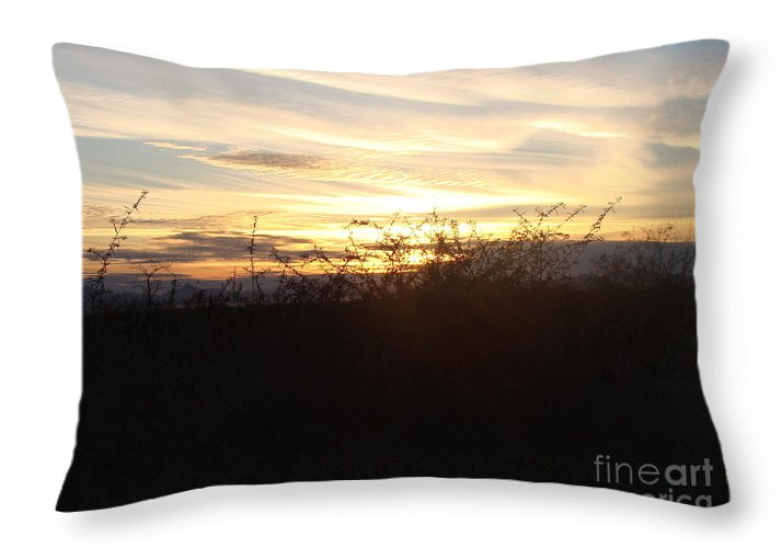 Sunrise Framed Prints Throw Pillow featuring the photograph Soft Skies by Beverly Guilliams