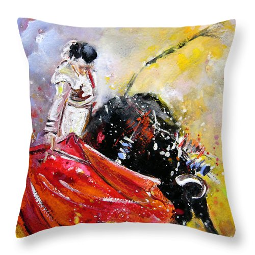Bullfight Throw Pillow featuring the painting Softly And Gently by Miki De Goodaboom