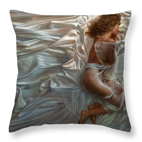 Portrait Throw Pillow featuring the painting Sogni Dolci by Mia Tavonatti