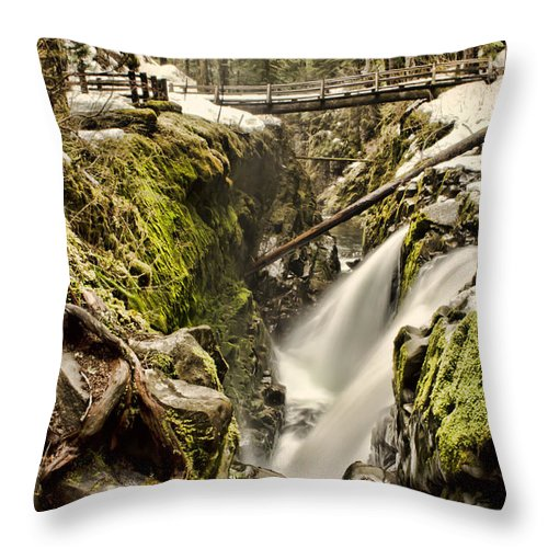 Sol Duc Throw Pillow featuring the photograph Sol Duc Falls by Heather Applegate