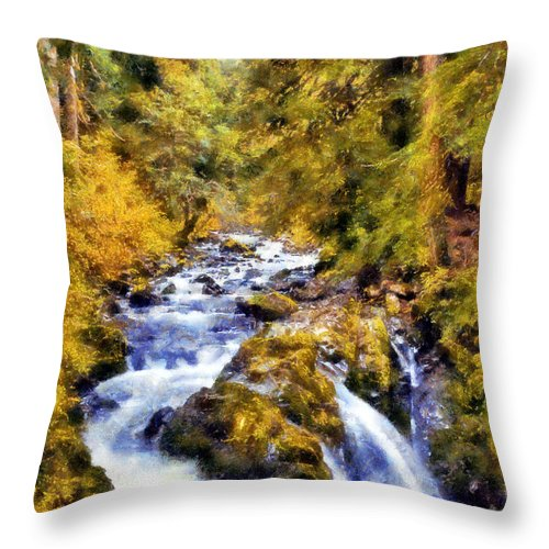 Sol Duc Falls Throw Pillow featuring the digital art Sol Duc Falls by Kaylee Mason