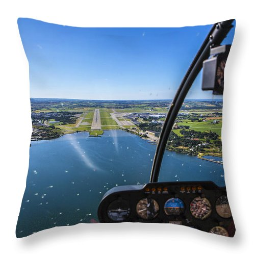 Water's Edge Throw Pillow featuring the photograph Sola And Sola Airport, Aerial Shot by Sindre Ellingsen