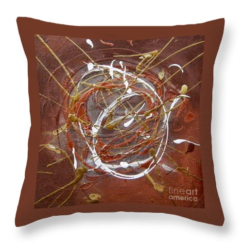 Bronze Throw Pillow featuring the painting Solaris One by Holly Picano