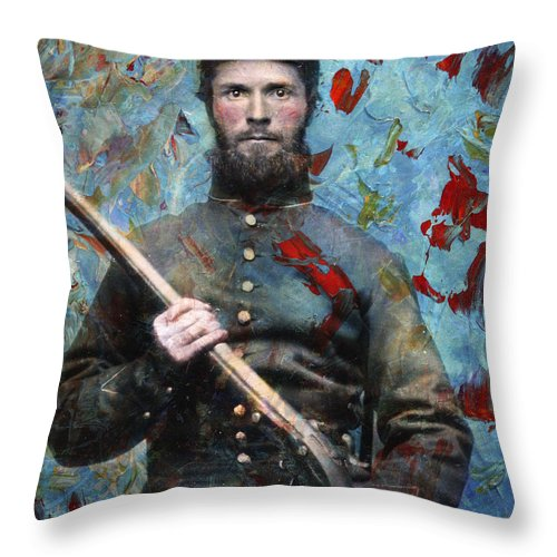 Daguerrotype Throw Pillow featuring the painting Soldier Fellow 2 by James W Johnson