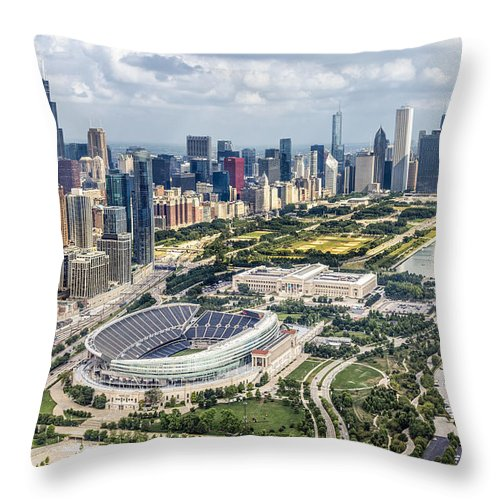 3scape Throw Pillow featuring the photograph Soldier Field And Chicago Skyline by Adam Romanowicz