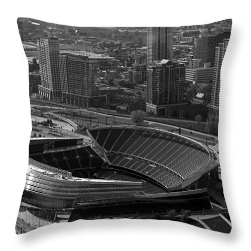 Chicago Throw Pillow featuring the photograph Soldier Field Chicago Sports 05 Black And White by Thomas Woolworth