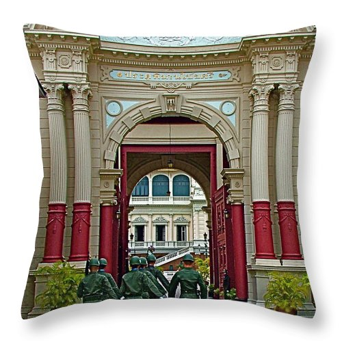 Soldiers In The Outer Court Of Grand Palace Of Thailand In Bangkok Throw Pillow featuring the photograph Soldiers In The Outer Court Of Grand Palace Of Thailand In Bangkok by Ruth Hager