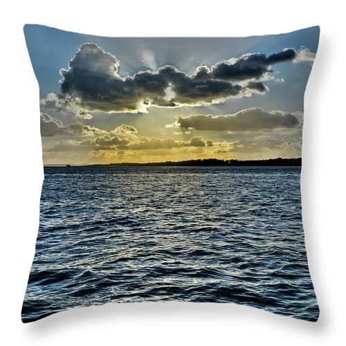 Crepuscular Throw Pillow featuring the photograph Solent Sun Rays by Gary Eason