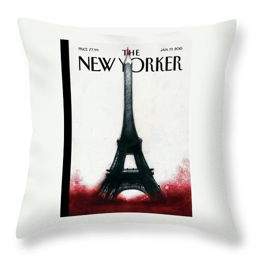 Charlie Hebdo Throw Pillow featuring the painting Solidarite by Ana Juan