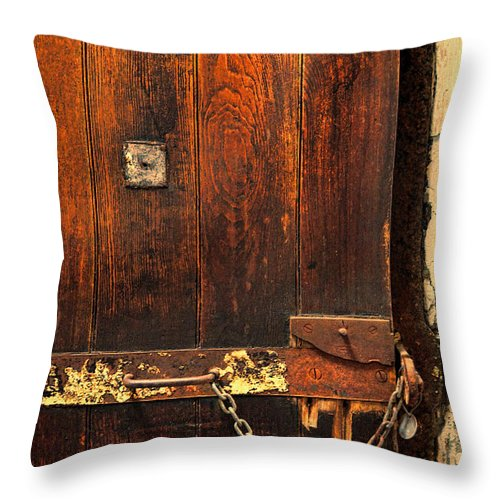 Solitary Throw Pillow featuring the photograph Solitary Confinement Door by Jill Battaglia