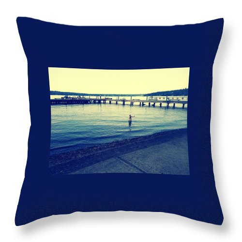 Water Throw Pillow featuring the photograph Solitary Swimming by Barbara Christensen