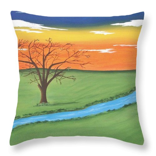 Tree Throw Pillow featuring the painting Solitude by Melanie Blankenship