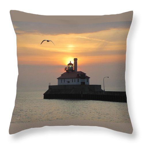 Lighthouse Throw Pillow featuring the photograph Solo Flight by Alison Gimpel
