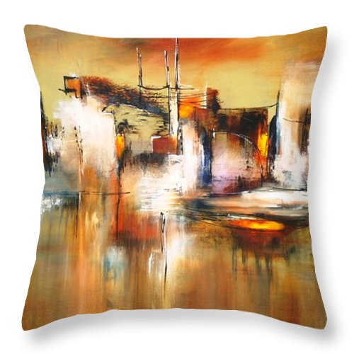 Abstract Throw Pillow featuring the painting Solo Reflejos by Thelma Zambrano