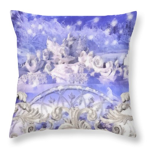 Some Say In Ice Throw Pillow featuring the painting Some Say In Ice by Mo T