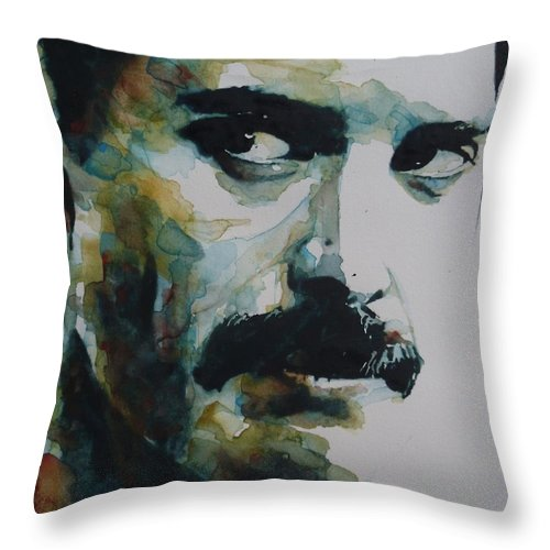 Queen Throw Pillow featuring the painting Freddie Mercury by Paul Lovering