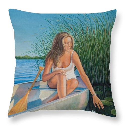 Figurative Throw Pillow featuring the painting Someday My Prince Will Come by Holly Kallie