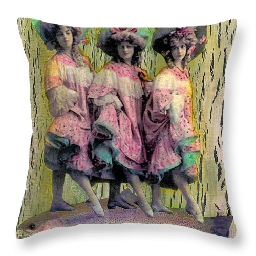 Pink Throw Pillow featuring the mixed media Somethin' Fishy by Desiree Paquette