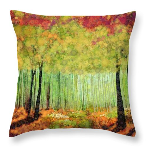 Magical Fall Colors That Invite Your Imagination To Dream. Delicate White Flowers Dot The Landscape Throw Pillow featuring the digital art Something Good by Steven Boland