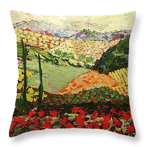 Landscape Throw Pillow featuring the painting Something Red by Allan P Friedlander