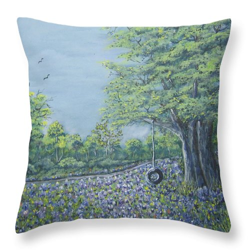 Texas Art Throw Pillow featuring the painting Somewhere In Texas by Suzanne Theis
