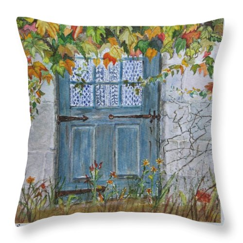 Autumn Leaves Throw Pillow featuring the painting Somewhere by Mary Ellen Mueller Legault