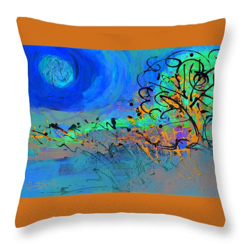 Landscape Throw Pillow featuring the painting Somewhere The Sun by Everett Spruill