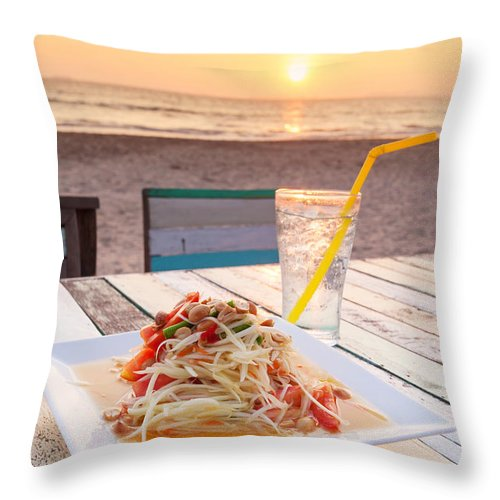 Agriculture Throw Pillow featuring the photograph Somtum Thai Salad by Atiketta Sangasaeng