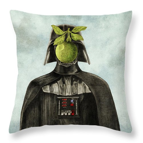 Magritte Throw Pillow featuring the drawing Son Of Darkness by Eric Fan