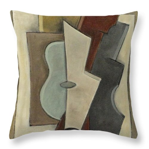 Musical Instruments Throw Pillow featuring the painting Sonata Il by Trish Toro
