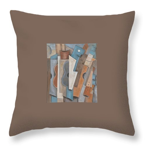 Musical Instruments Throw Pillow featuring the painting Sonata by Trish Toro