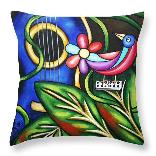 Cuba Throw Pillow featuring the painting Songbird by Annie Maxwell