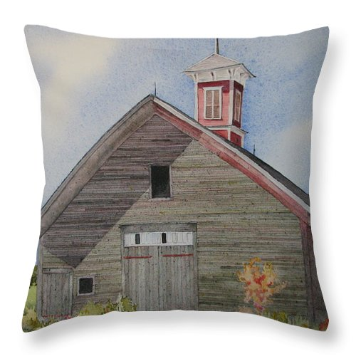 Farm Building Throw Pillow featuring the painting Soon To Be Forgotten by Mary Ellen Mueller Legault