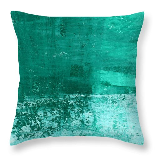 Abstract Art Throw Pillow featuring the painting Soothing Sea - Abstract painting by Linda Woods