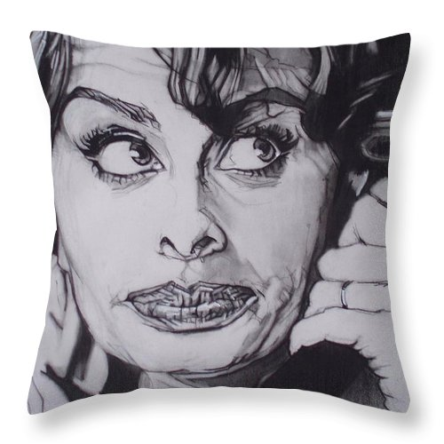 Charcoal;icon;actress;diva;italian;cat Eyes;beautiful;cute;adorable Throw Pillow featuring the drawing Sophia Loren Telephones by Sean Connolly