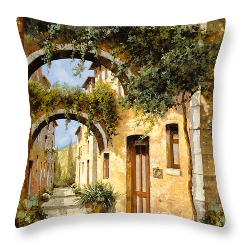 Arch Throw Pillow featuring the painting Sotto Gli Archi by Guido Borelli