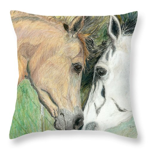 Horses Throw Pillow featuring the drawing Soul Mate by Daniel Eastwood
