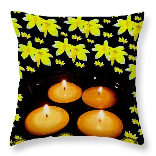 Candles Throw Pillow featuring the mixed media Soul Meditative Pop Art by Pepita Selles