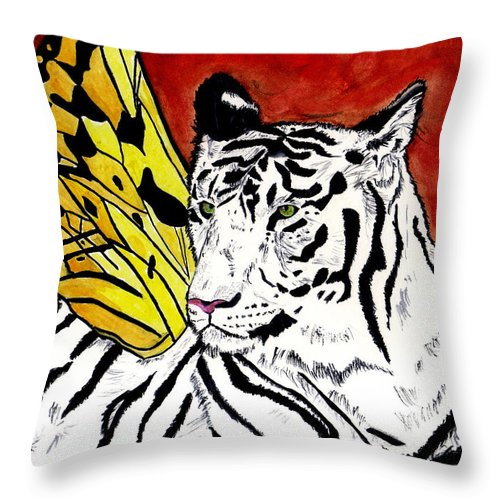 Tiger Throw Pillow featuring the painting Soul Rhapsody by Crystal Hubbard