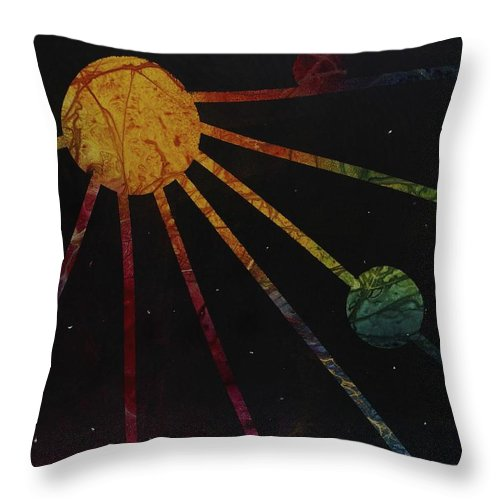 Solar System Throw Pillow featuring the mixed media Soular System by Pat Butera