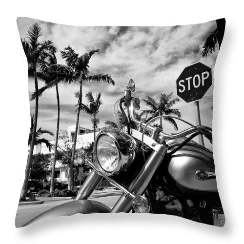 Bike Throw Pillow featuring the photograph South Beach Cruiser by Dave Bowman